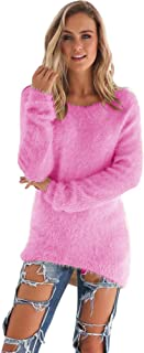 Cenglings Womens Warm Long Sleeve Sweater Ladies Round Neck Fuzzy Oversized Pullover Tops Blouse