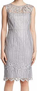 Adrianna Papell womens SHORT EMBROIDERED DRESS WITH CAP SLEEVES Special Occasion Dress