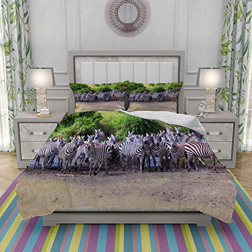 JOLIEAN Duvet Cover Set-Bedding,Herd Of Zebras,Quilt Cover Bedlinen-Microfibre 140x200cm with 2 Pillowcase 50x80cm