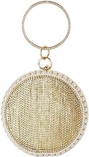 Lanbinxiang @ Women's Glossy Luxury Rhinestone Rivets Fringe Pearl Evening Bag Handbag Metal Chain Messenger Bag Wallet Wedding Gift Dress Clutch Size: 6.5 * 6 * 16.5cm (Color : Gold)