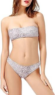 Qitun Mujeres Plus Bañadores Slim Fit Conjuntos De Bikini Push Up Acolchado Bra Traje De Baño Sin Correa para el Hombro Tr...