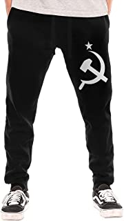 Russian CCCP Hammer Mens Closed Bottom Jogger Pants with Pockets