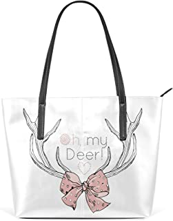 Deer Antlers Women's Leather Tote Shoulder Bags Handbags