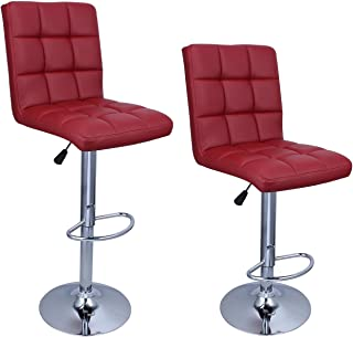 Belleze Set of (2) Faux Leather Adjustable Swivel Hydraulic Lift Bar Stool Backrest with Footrest, Merlot Red