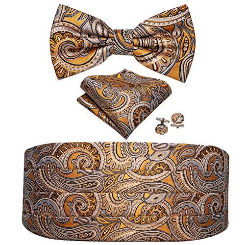 Barry.Wang Men Paisley Cummerbund and Bow Tie Set with Pocket Square Cufflink Orange Floral Satin Belt