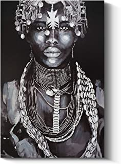 Abstract Afro Art Black Women Wall Art African Portrait Canvas Painting Wall Decor Pictures for Home and Office Decorations (16x24 inch, C)
