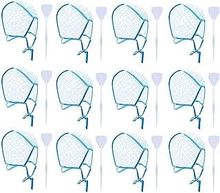 12 Piezas de Gorro de Tinte, con 12 Piezas de Ganchos de Plástico Para Teñir el Cabello, Gorro de Peluquería Desechable Sombrero para Teñir el Pelo para Colorear el Cabello