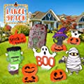 Halloween Yard Sign Stakes for Halloween Decorations Outdoor, Pumpkin Skeleton and Ghost Corrugate Trick or Treat Yard Signs with Stakes Halloween Prop Halloween Yard Lawn Party Decorations (9PCS)