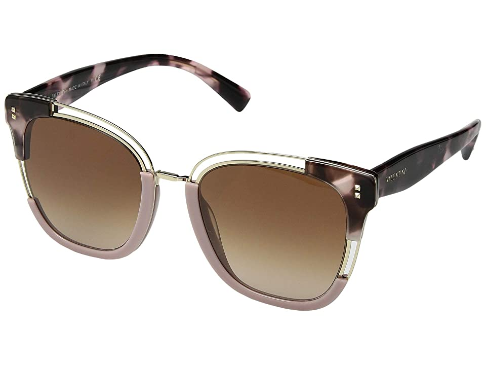 Valentino 0VA4042 (Havana Pink/Light Gold/Gradient Brown Violet) Fashion Sunglasses