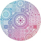 Mouse Pad, Vintage Mandala Mouse Mat, Cute Round Mouse Mat with Design, Small Stitched Edge Non-Slip Rubber Circular Floral Mouse Pad Desk Accessories for Teen Girls and Women, 7.9 x 7.9 Inch