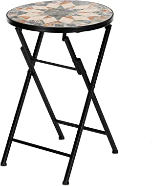"VINGLI Mosaic Outdoor Side Table, 14"" Round Folding End Table, Accent Table, Glass Top Black Iron, Golden Autumn"