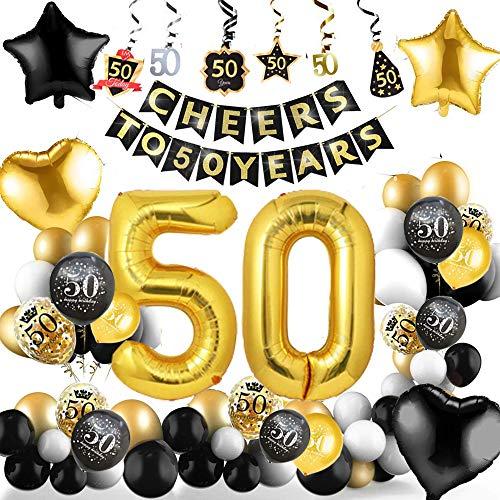 50 Cumpleaños Decoraciones 50 Años de Globos de Cumpleaños de Oro Negro Globos de Papel de Confeti de Látex Impresos 50 Globos de Cumpleaños para Adultos Hombres Mujeres