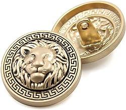 Anjing Schachtknop leeuwenkop, metaal, reliëf, pak, shirt, DIY, 10 stuks, goud, 20 mm
