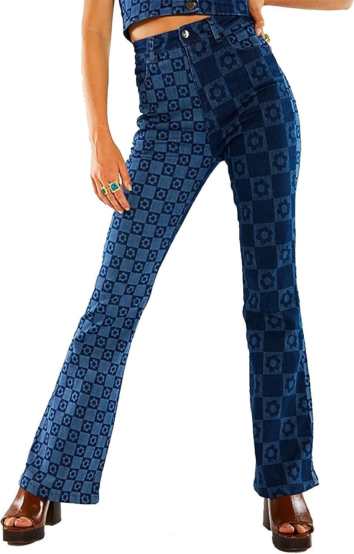 TWFRHC Women High Waist Slim Stretch Jeans Casual Blue Print Wide Legs Flared Denim Pants