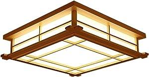 GQLB Luces De Estilo Japonés Con Tatami Estudio Luces Nórdicas 35 * 35 * 12 Cm Led Lámpara De Techo De Madera Maciza Dormitorio Personalizado, Luz Cálida Iluminación Creativa