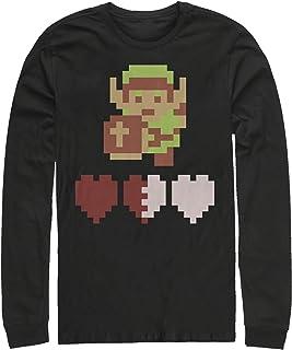 Nintendo Men`s Zelda 8-Bit Hearts Long Sleeve T-Shirt