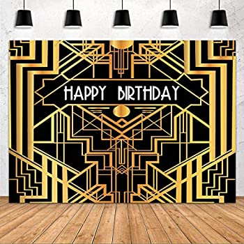 Happy Birthday Backdrop for Gatsby Birthday Party Decorations FHZON 10x7ft The Great Gatsby Photography Background Black Gold Golden Banner Party Themed Wallpaper Video Studio Shoot Props LXFH566