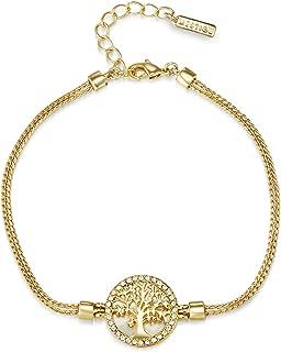 Mestige MSBR3327 Gold Plated Maple Tree of Life Charm Bracelet for Women