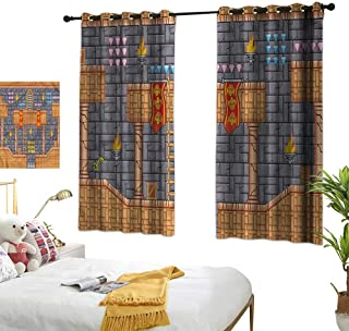 Marshome Decor Curtains Retro Video Game Quest Fantasy Suitable for Bedroom Living Room Study, etc.72 Wx63 L