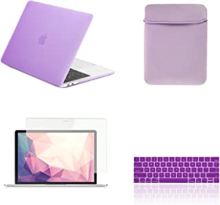 """TOP CASE MacBook Pro 13 inch Case 2019 2018 2017 2016 Release A2159 A1989 A1706 A1708, 4 in 1 Essential Rubberized Hard Case, Keyboard Cover, Screen Protector, Sleeve for MacBook Pro 13"""" - Ultraviolet"""
