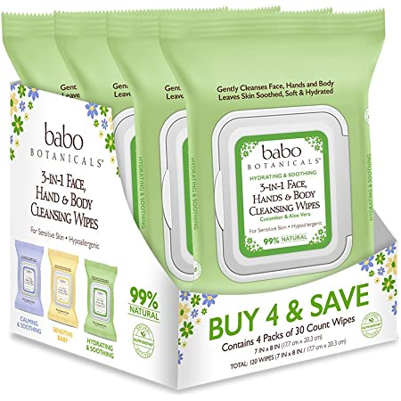 Babo Botanicals Swim & Sport 3-in-1 Face, Hand & Body Wipes with Natural Cucumber and Aloe Vera, Hypoallergenic, Vegan, 30 Count (Pack of 4)