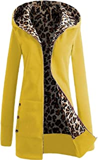Womens Zipper Up Thickened Sweatshirts Plus-Size Leopard Printed Coat Jacket