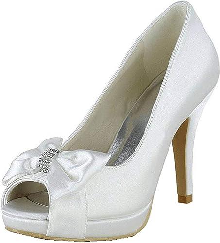 ZHRUI Sandales De Mariage De Satin De De Noeud De Filles des Femmes (Couleuré   blanc-10cm Heel, Taille   4 UK)  vente de sortie
