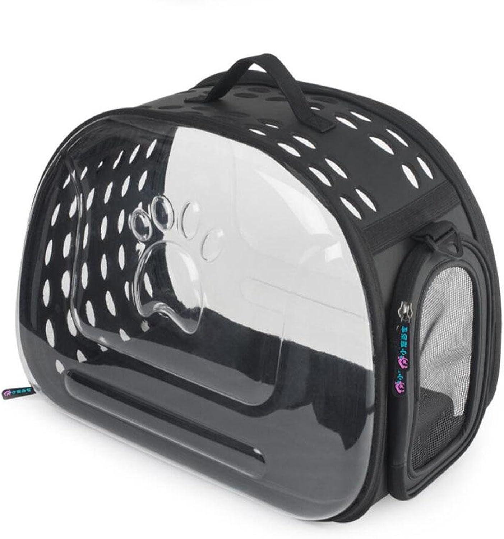 LVRXJP Collapsible Outdoor Portable Pet Bag Transparent Pet Shoulder Bag Cat Bag Dog Handbag45  34  28CM