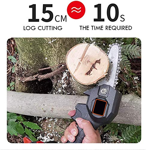 MKING Mini Chainsaw 4-Inch Cordless Electric Protable Chain Saw with Brushless Motor,(1.54lbs US Plug) Pruning Shears Chainsaw for Tree Branch Wood Cutting