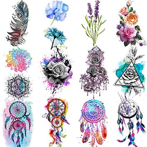 COKTAK 12 Blätter Aquarell Traumfänger Blumen Temporäre Tattoos Frauen Bunt Rose Feather Lavendel Fake Tattoos Mädchen Klebetattoos Kinder Temporary Tattoos Zum Aufkleben Auf Die Haut Mandala Blume
