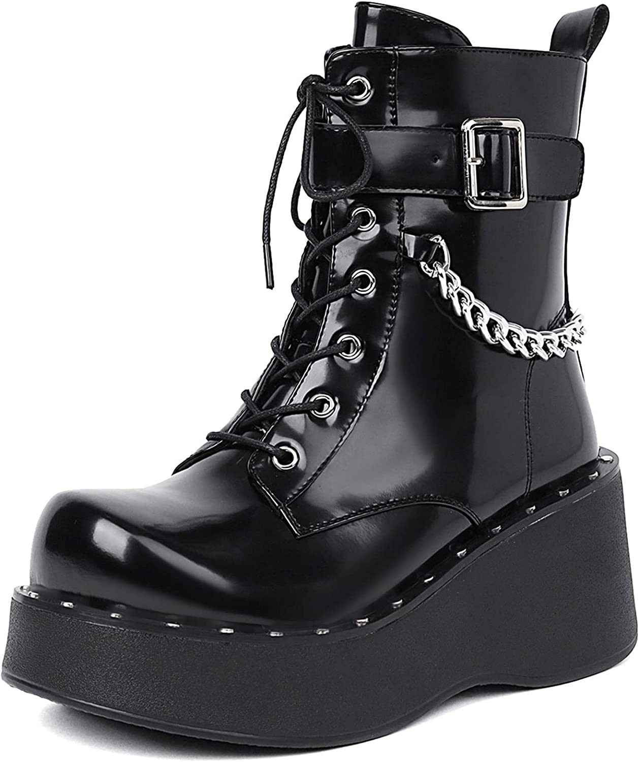 SaraIris Platform Boots for Women Punk Goth Boots Personality Studded Buckle Chunky Mid Calf Boots Zipper Motorcycle Boots
