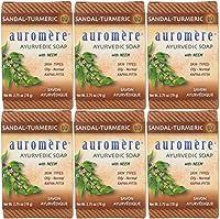 【セブン・ハブ】 オーロメア (Auromere) アーユルヴェーダ 石鹸/サンダルターメリック 78g 5+1個 セット