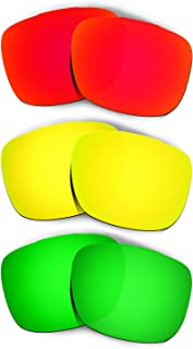 Hkuco Plus Mens Replacement Lenses For Oakley TwoFace Red/24K Gold/Emerald Green Sunglasses
