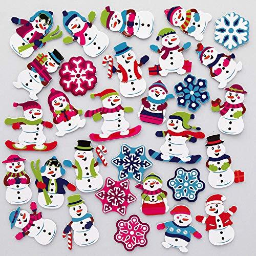 Baker Ross AX481 Schneemann Moosgummi-Aufkleber - 200 Stück, Künstler- und Bastelbedarf für Kinder zum Dekorieren zur Weihnachtszeit