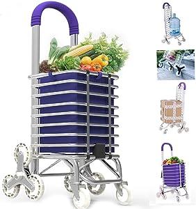 MEYLEEMEYLEE Carro de compras plegable con 8 ruedas de cristal y gran capacidad de la cesta de compras, carretillas de aluminio para el diario de compras