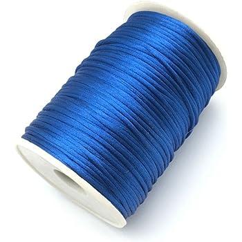 FQTANJU Royal Blue 2mm x 100 yards Satin Nylon Trim Cord, Rattail, Chinese Knot, Kumihimo, Premium Quality