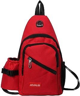 MKKYB Fanny Pack for Men Waist Bag, Sports Canvas Pocket Bag Backpack Waterproof Belt Bag Hiking Outdoor Diagonal Chest Package Black bumbag (Color : Red)