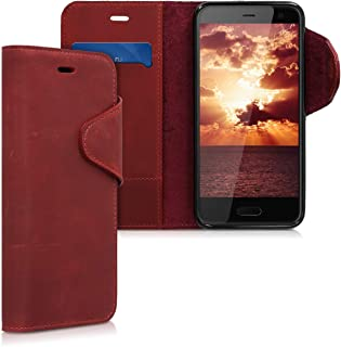 kalibri Wallet Case for HTC U11 Life - Genuine Leather Book Style Protective Cover with Card Slot - Dark Red
