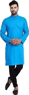 SKAVIJ Men's Shirt Cotton Kurta Long Sleeve Casual Tunic Dress