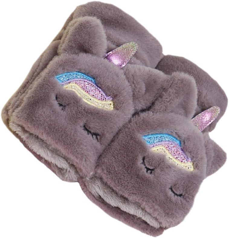 ABOOFAN Women Winter Furry Mittens Fingerless Soft Unicorn Gloves Faux Fur Fingerless Gloves Half Finger Warmer Christmas Winter Gifts