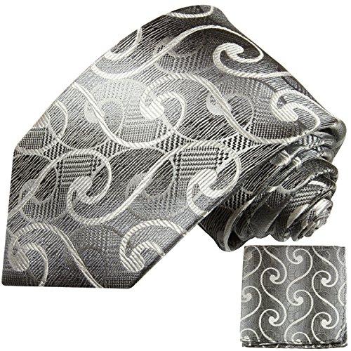 Argent blanc ensemble de cravate 2 Pièces (100% Soie Cravate + Mouchoir)