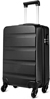 """Kono Horizontal Design ABS Hard Shell 20 Inch 55cm Cabin Suitcase 4 Wheeled Spinner Luggage (Small 20"""", Black)"""
