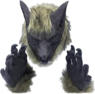 XILALU Horror Animal Head Mask, Halloween Creepy Tiger Wolf Furry Latex Headgear Party Cosplay Costume Props Toy