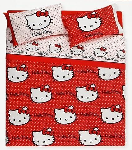 Gabel Hello Kitty Completo Lenzuola Matrimoniale Hello Kitty Polka Dot 008 Rosso Amazon It Casa E Cucina