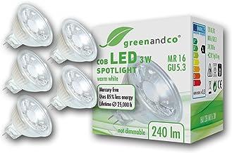 5x greenandco® LED-spot vervangt 25 Watt MR16 GU5.3 halogeenspot, 3W 240 lumen 2700K warm wit 38° 12V AC/DC, niet dimbaar
