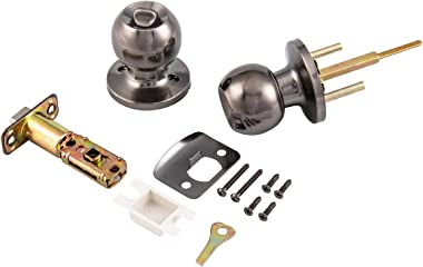MAXECURITY Privacy Door Knob/Knobset Bed or Bath Knob in Antique Nickel Finish, Adjustable Backset Fits Either 2-3/8 inch or 2-3/4 inch,3 Pack