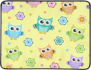 Owl Baby Texture Portable and Foldable Blanket Mat 60x78 Inch Handy Mat for Camping Picnic Beach Indoor Outdoor Travel