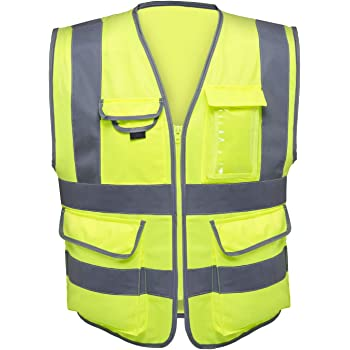Neiko 53993A High Visibility Safety Vest with 7 Pockets and Zipper, Neon Yellow   Size M