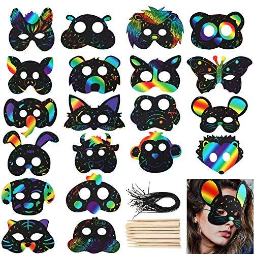 Gejoy 40 Sets Kratz Papier Tier Masken Bunte Kratzmaske mit Gummiband und Holzstift für Tierische Themen Partyzubehör
