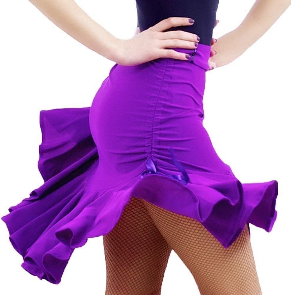 Latin Dance Skirt for Women Daily Pleated SkirtRumba Samba Performance Practice Clothing Color : Black, Size : M